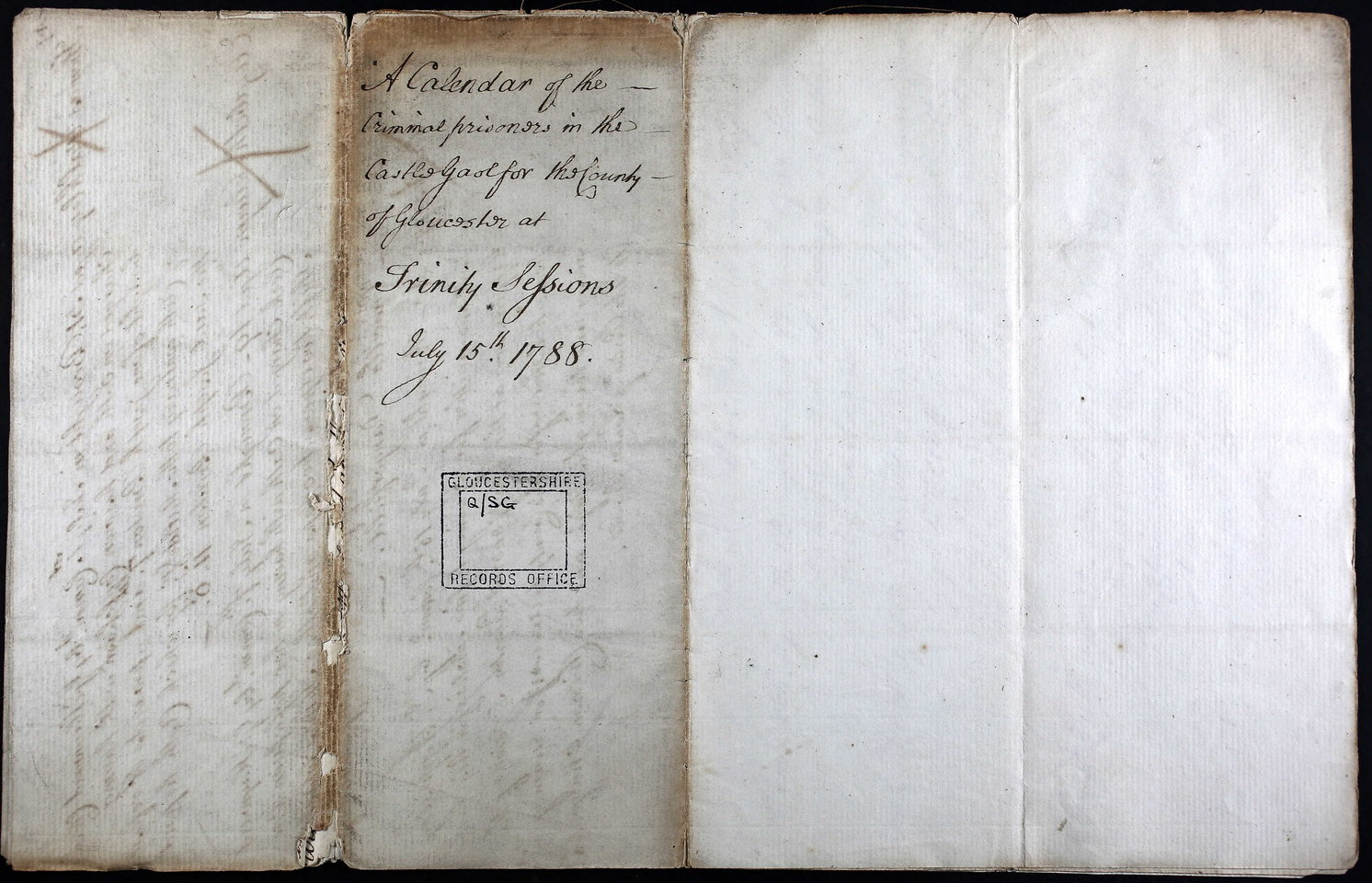 A Calendar of the Criminal prisoners in the Castle Gaol for the county of Gloucester at Trinity Sessions July 15th 1788.