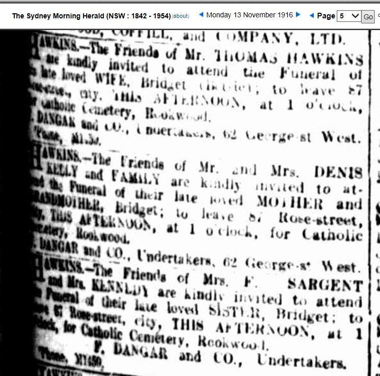 Bridget Kennedy b  1846 O'Callaghan's Mills, Clare, Ireland d  1916