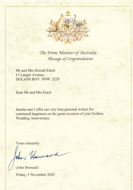 Don Joyce Eatch Th Wedding Anniversary Prime Minister Of Australia