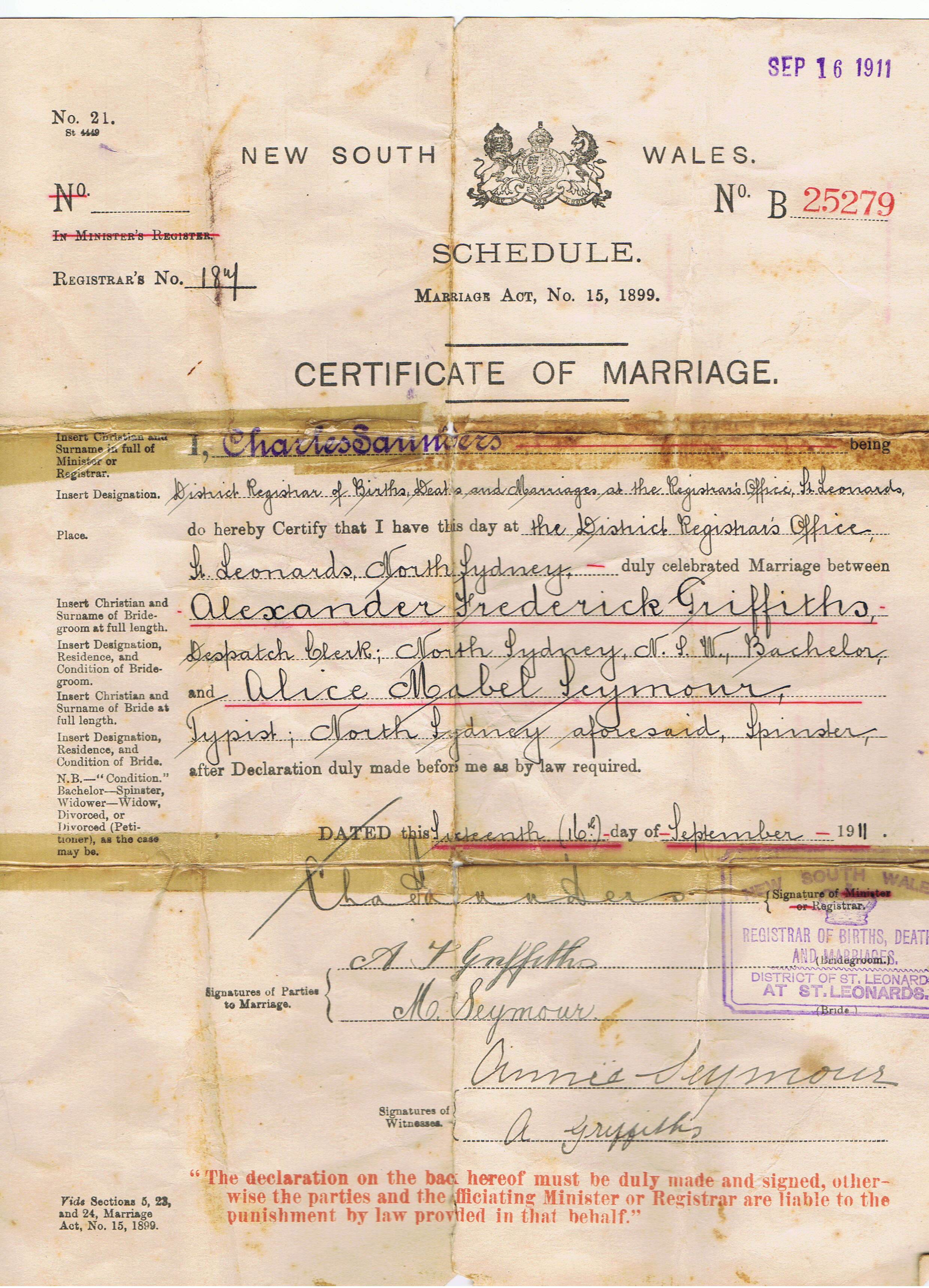 Marriage Certificate of Alexander Frederick Griffiths and Alice Mabel Seymour