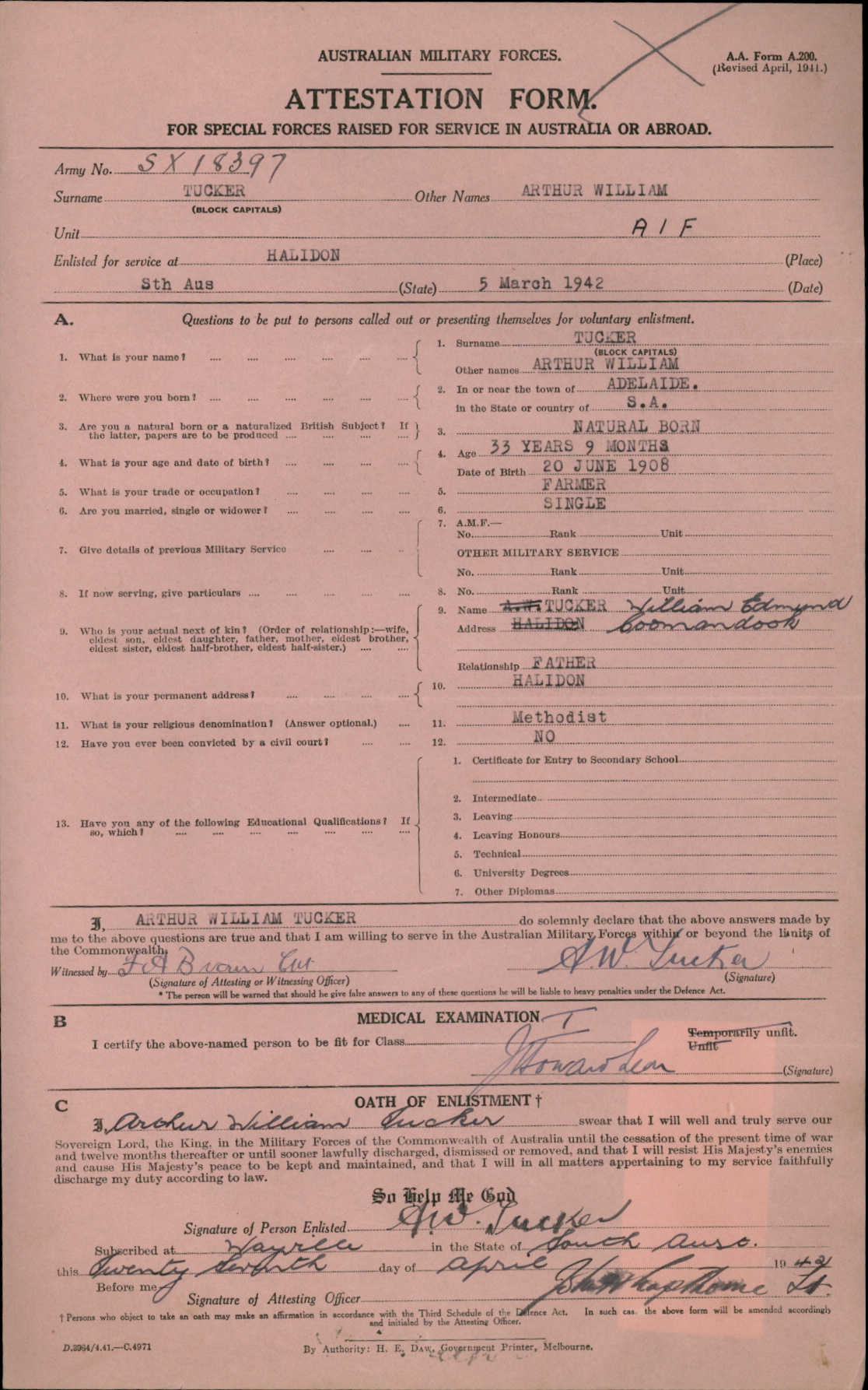 British Military Service Record - Charles Tucker