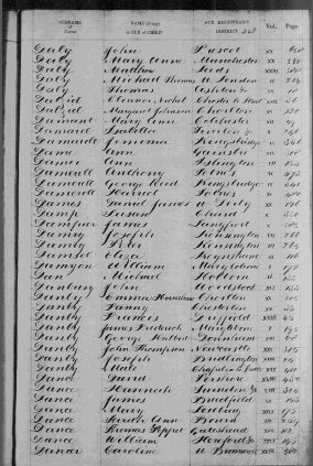 Birth Registration October - December 1840 - Hannah Dance