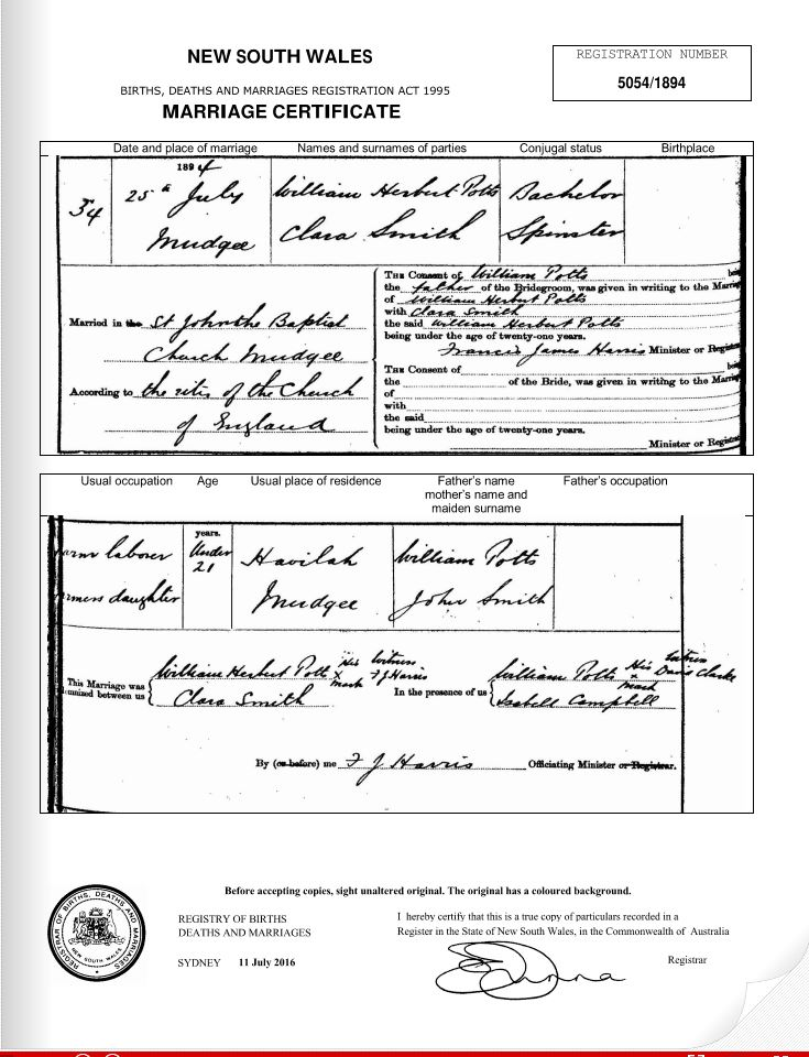 Marriage Certificate of William Herbert Potts and Clara Smith