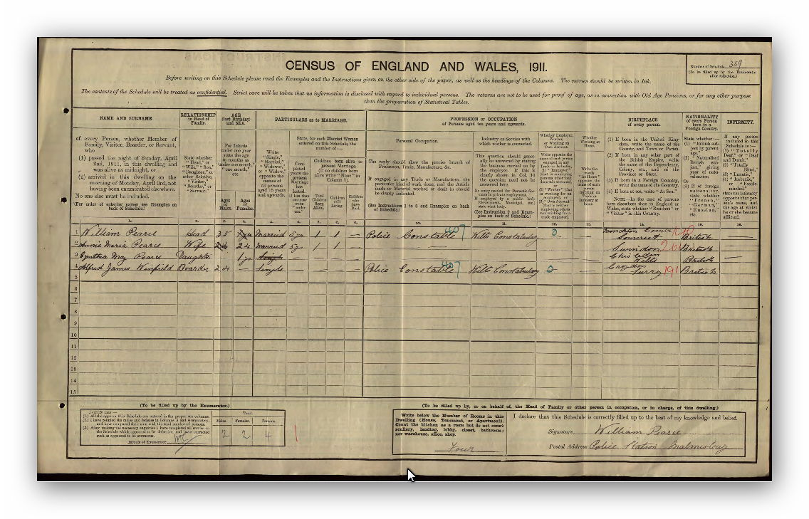 1911 Census of England and Wales - William, Annie and Cynthia Pearce