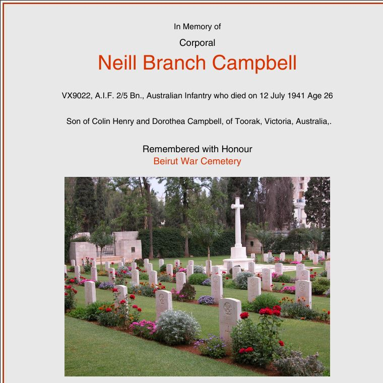Burial Details of Neill Branch Campbell